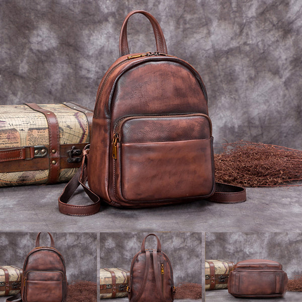 Handmade Genuine Leather Small Backpack Laptop Bags School Bags Purses Women fashionable