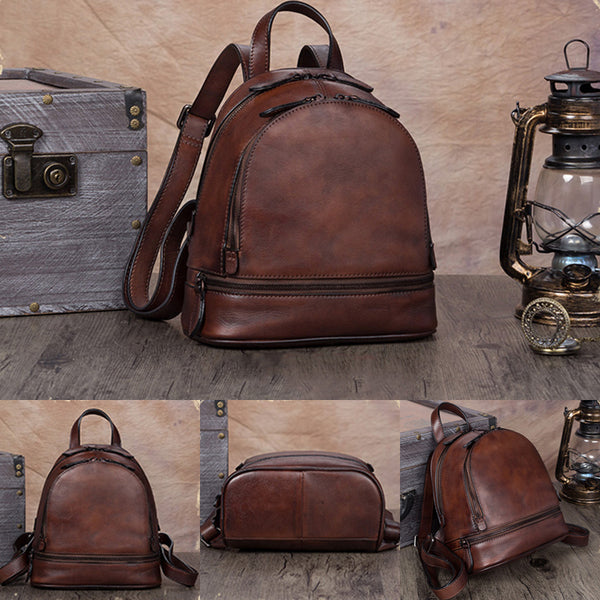 Handmade Genuine Leather Small Backpack Laptop Bags School Bags Purses Women gift