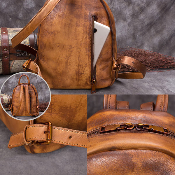 Handmade Genuine Leather Small Backpack Laptop Bags School Bags Purses Women