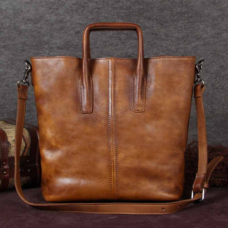 Handmade Genuine Leather Totes Handbags Crossbody Shoulder Bags Purses Accessories Gift Women Brown