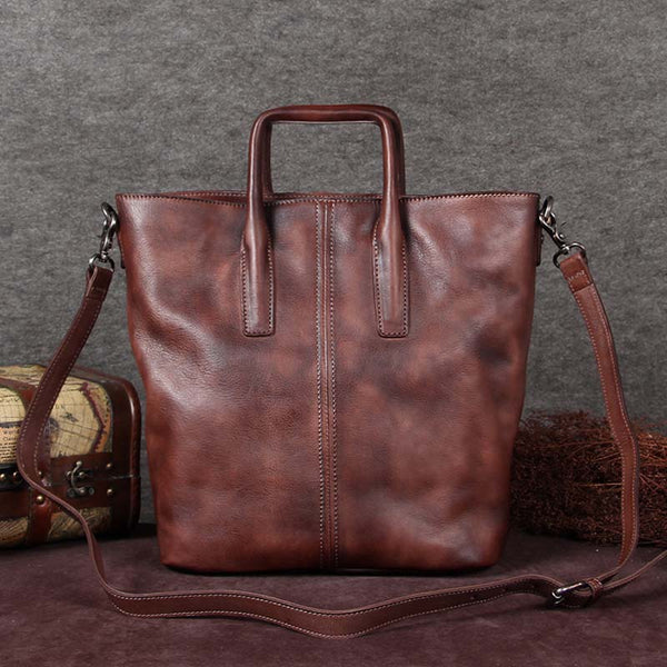 Handmade Genuine Leather Totes Handbags Crossbody Shoulder Bags Purses Accessories Gift Women Coffee