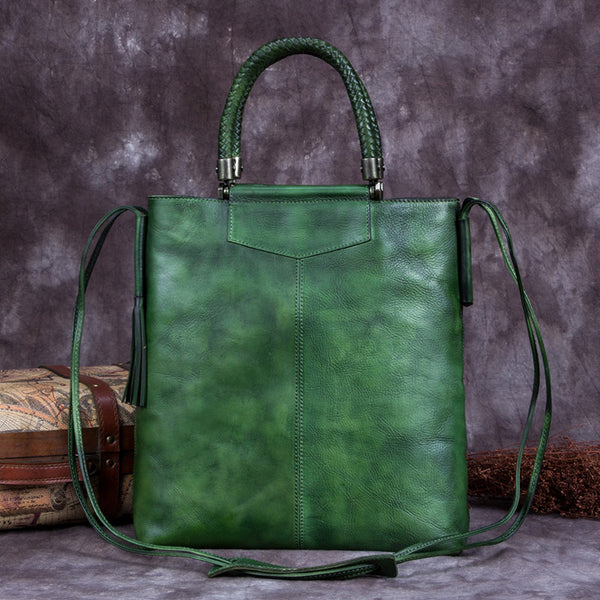 Handmade Genuine Leather Totes Handbags Crossbody Shoulder Bags Purses Accessories Gift Women Green