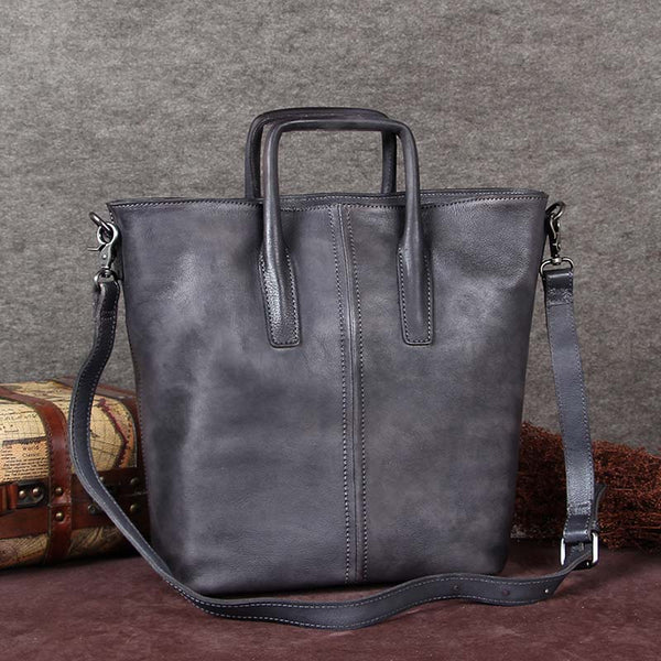 Handmade Genuine Leather Totes Handbags Crossbody Shoulder Bags Purses Accessories Gift Women Grey