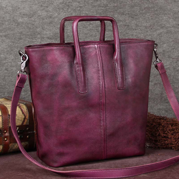 Handmade Genuine Leather Totes Handbags Crossbody Shoulder Bags Purses Accessories Gift Women Purple