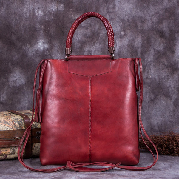 Handmade Genuine Leather Totes Handbags Crossbody Shoulder Bags Purses Accessories Gift Women Red