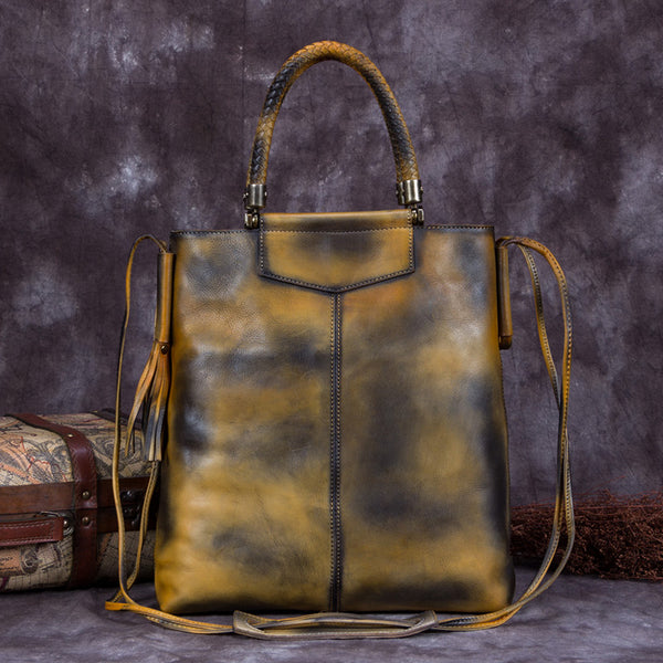 Handmade Genuine Leather Totes Handbags Crossbody Shoulder Bags Purses Accessories Gift Women Yellow