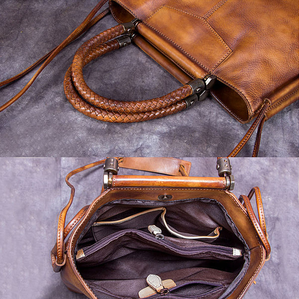 Handmade Genuine Leather Totes Handbags Crossbody Shoulder Bags Purses Accessories Gift Women
