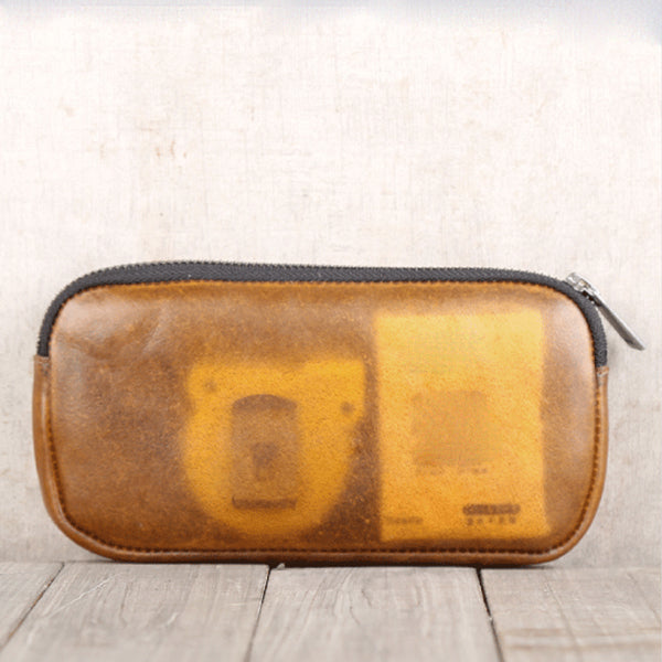 Handmade Genuine Leather Transparent Wallet Clutches Phone Case Women Men fashionable