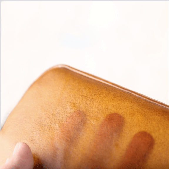 Handmade Genuine Leather Transparent Wallet Clutches Phone Case Women Men gift