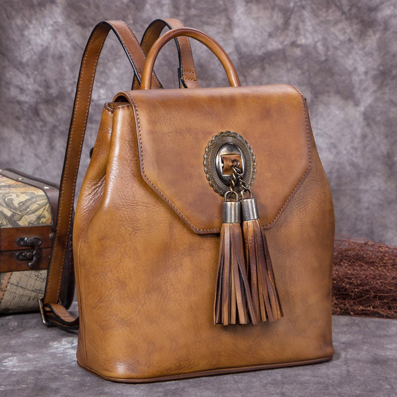 Handmade Genuine Leather Vintage Backpack Bags handbag School Bags Purses Women Brown