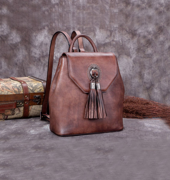 Handmade Genuine Leather Vintage Backpack Bags handbag School Bags Purses Women Coffee