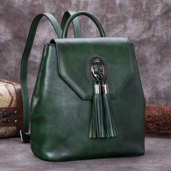 Handmade Genuine Leather Vintage Backpack Bags handbag School Bags Purses Women Green