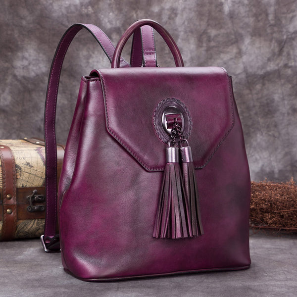 Handmade Genuine Leather Vintage Backpack Bags handbag School Bags Purses Women Purple