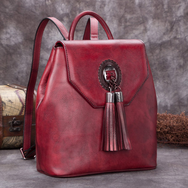 Handmade Genuine Leather Vintage Backpack Bags handbag School Bags Purses Women Red