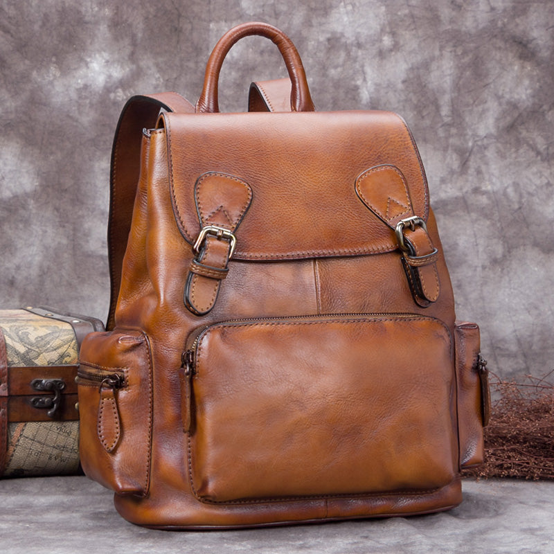 4cf8986b284b Handmade Genuine Leather Vintage Backpack Laptop School Bags Purses Women  Brown