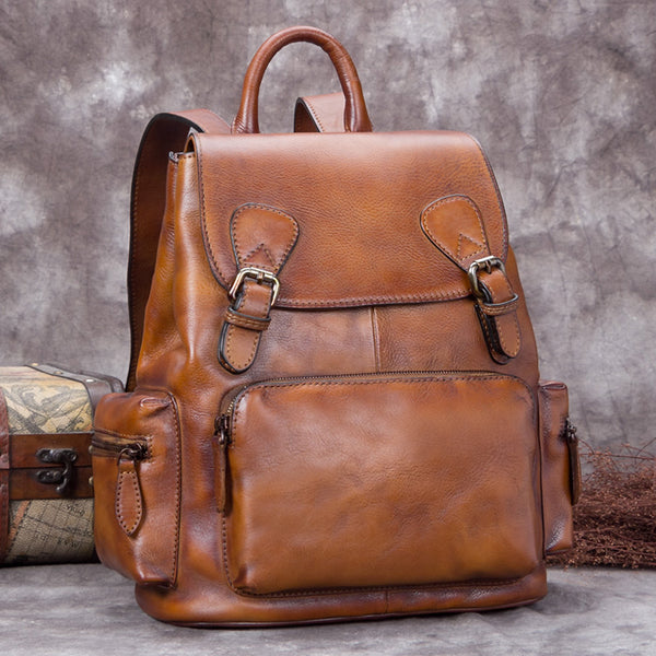 Handmade Genuine Leather Vintage Backpack Laptop School Bags Purses Women Brown
