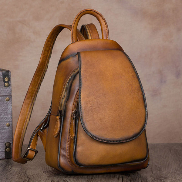 Handmade Genuine Leathe Vintage Backpack Laptop School Bags Purses Women Brown