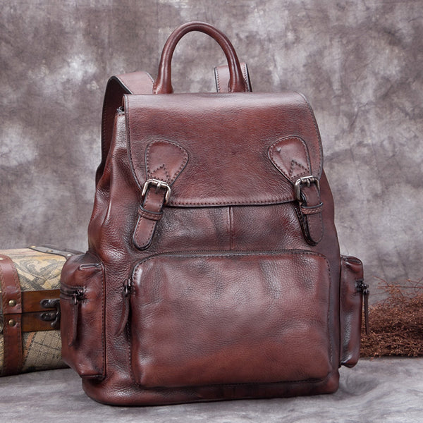 Handmade Genuine Leather Vintage Backpack Laptop School Bags Purses Women Coffee