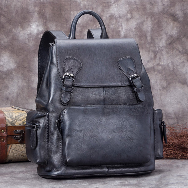 Handmade Genuine Leather Vintage Backpack Laptop School Bags Purses Women Grey