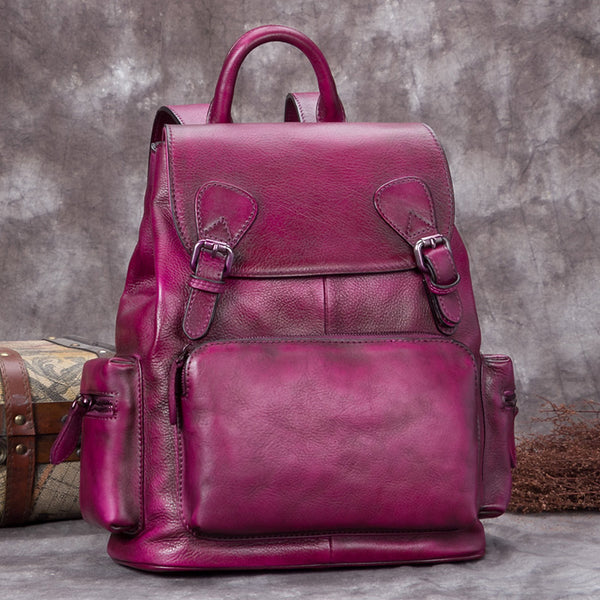 Handmade Genuine Leather Vintage Backpack Laptop School Bags Purses Women Purple