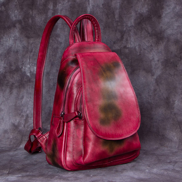 Handmade Genuine Leather Vintage Backpack Laptop School Bags Purses Women Red&Brown