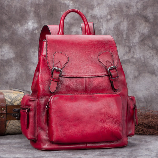 Handmade Genuine Leather Vintage Backpack Laptop School Bags Purses Women Red