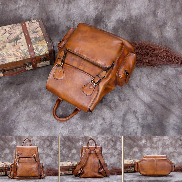 Handmade Genuine Leather Vintage Backpack Laptop School Bags Purses Women Unique