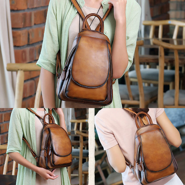 Handmade Genuine Leather Vintage Backpack Laptop School Bags Purses Women fashionable