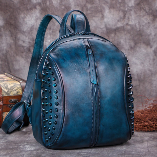 Handmade Genuine Leather Vintage Backpacks Handbag School bags Purses Women Blue