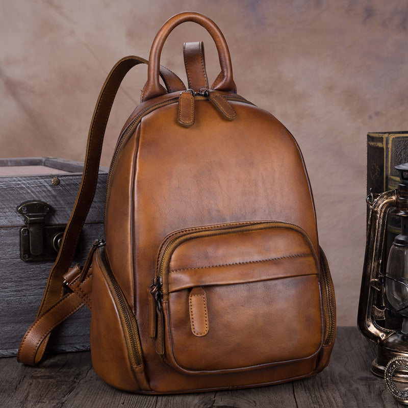 Handmade Genuine Leather Vintage Backpacks Handbag School bags Purses Women Brown