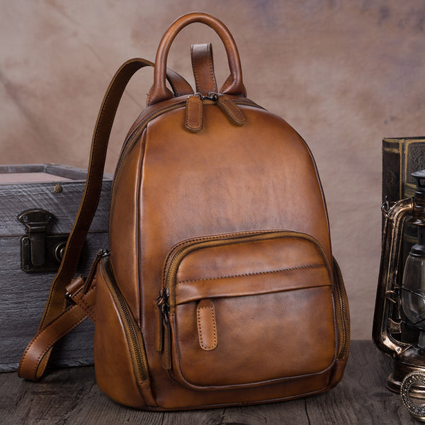 Vintage Womens Brown Leather Backpack Purse Laptop Book Bag for Women