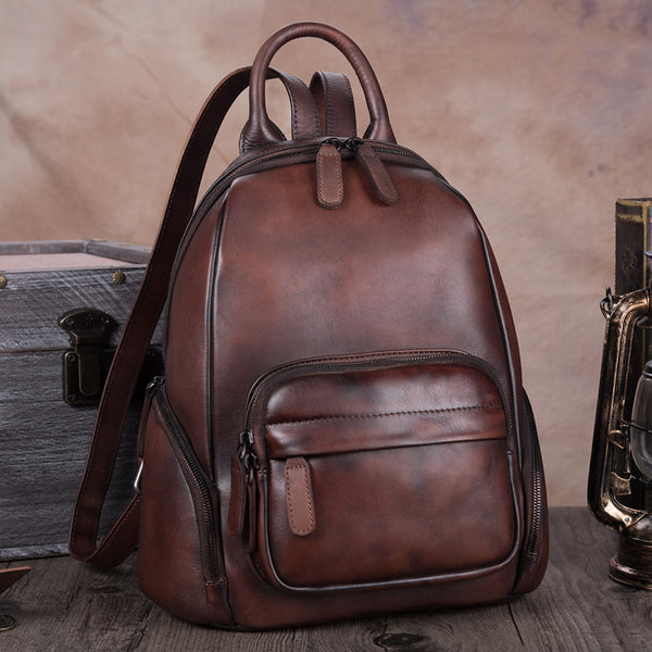 Handmade Genuine Leather Vintage Backpacks Handbag School bags Purses Women Coffee