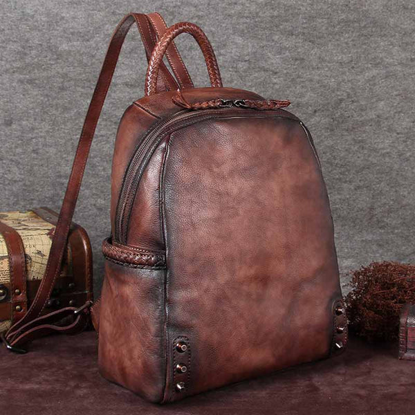 Cool Ladies Dyeing Leather Laptop Backpack Purse Backpacks for Women