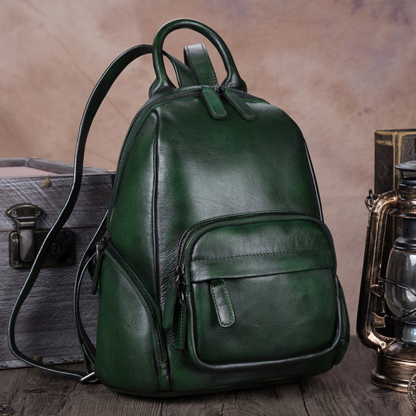 Handmade Genuine Leather Vintage Backpacks Handbag School bags Purses Women Green