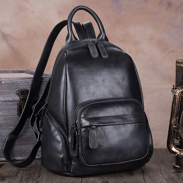 Handmade Genuine Leather Vintage Backpacks Handbag School bags Purses Women Grey