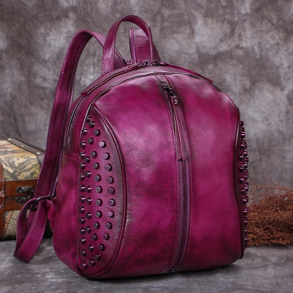 Handmade Genuine Leather Vintage Backpacks Handbag School bags Purses Women Purple