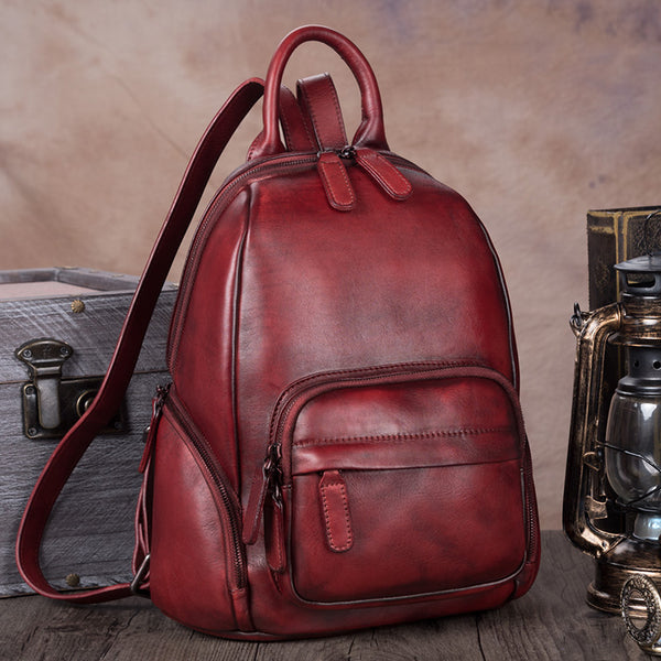 Handmade Genuine Leather Vintage Backpacks Handbag School bags Purses Women Red