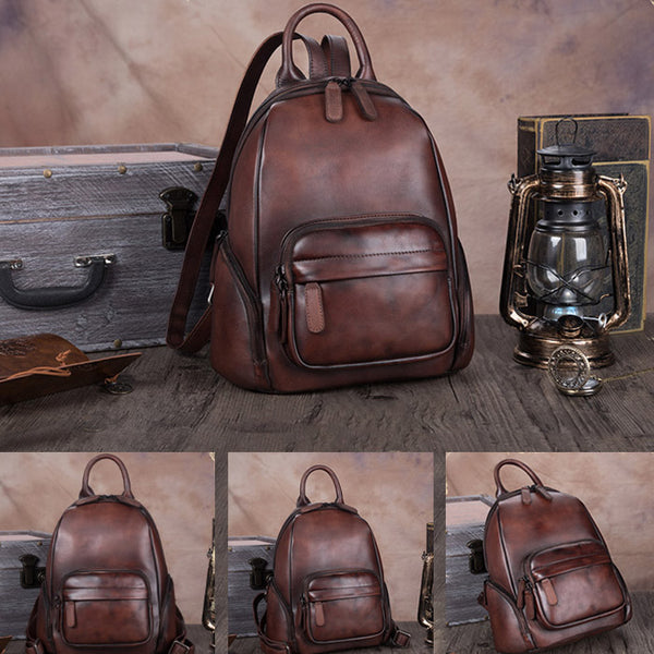 Handmade Genuine Leather Vintage Backpacks Handbag School bags Purses Women Unique