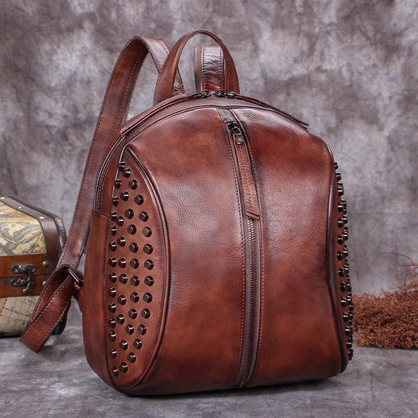 Handmade Genuine Leather Vintage Backpacks Handbag School bags Purses for Women