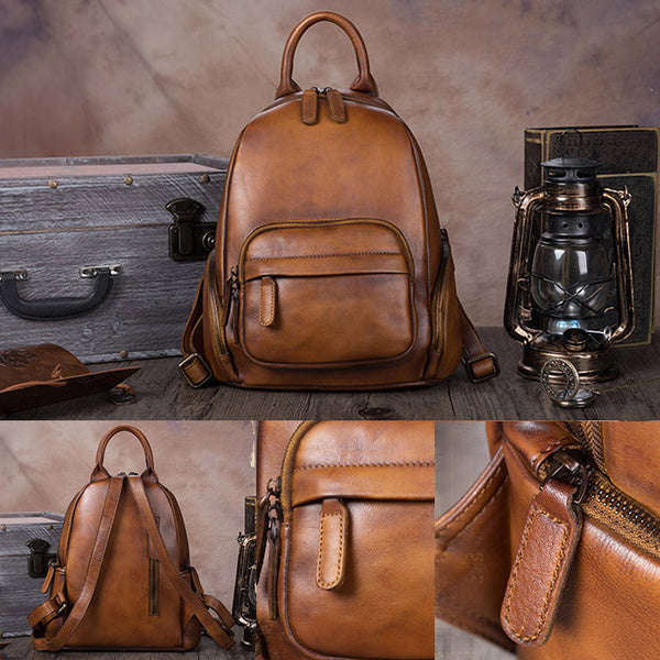 Handmade Genuine Leather Vintage Backpacks Handbag School bags Purses Women Vintage