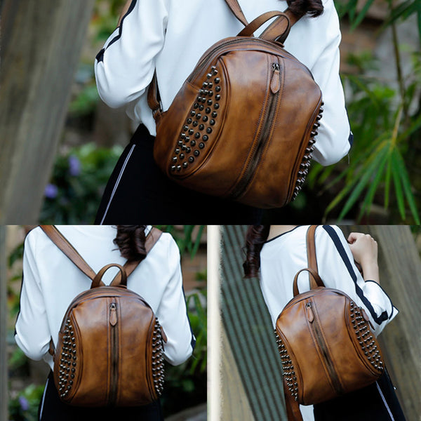 Handmade Genuine Leather Vintage Backpacks Handbag School bags Purses Women beautiful