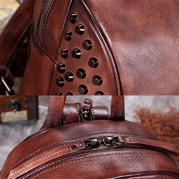 Handmade Genuine Leather Vintage Backpacks Handbag School bags Purses Women fashionable