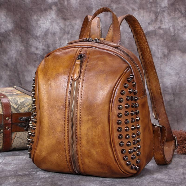 Handmade Genuine Leather Vintage Backpacks Handbag School bags Purses Women gift