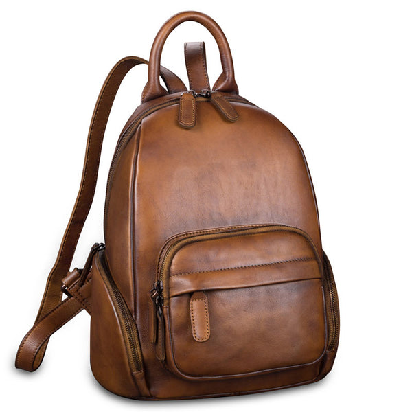 Handmade Genuine Leather Vintage Backpacks Handbag School bags Purses Women