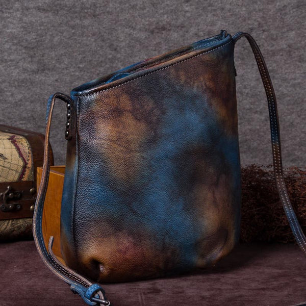 Handmade Genuine Leather Vintage Crossbody Shoulder Bags Purses Women Blue