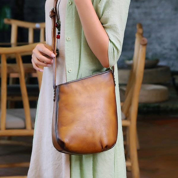 Handmade Genuine Leather Vintage Crossbody Shoulder Bags Purses Women Brown
