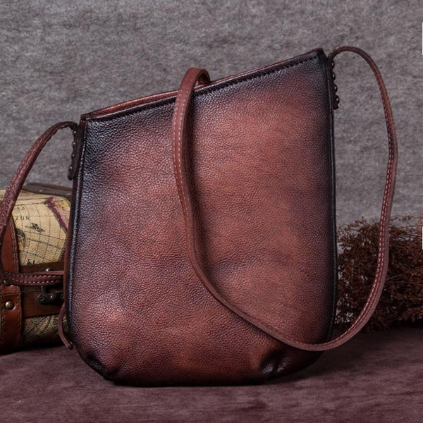 Handmade Genuine Leather Vintage Crossbody Shoulder Bags Purses Women Coffee