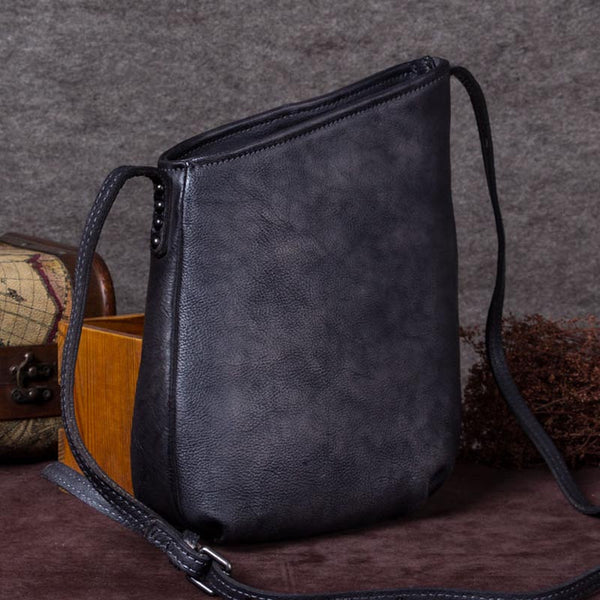 Handmade Genuine Leather Vintage Crossbody Shoulder Bags Purses Women Grey