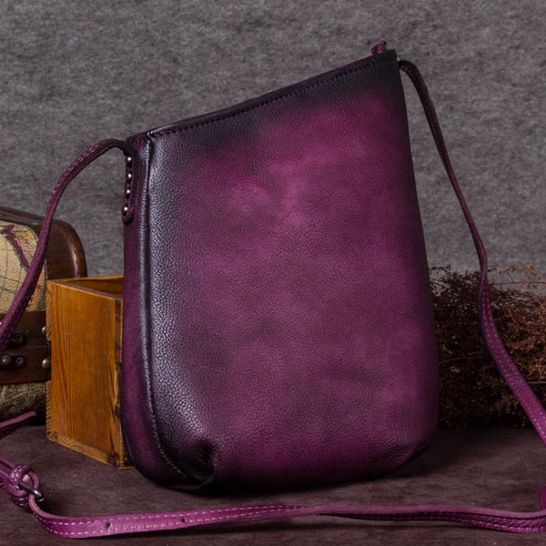 Handmade Genuine Leather Vintage Crossbody Shoulder Bags Purses Women Purple
