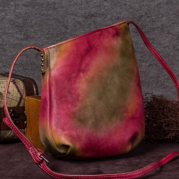 Handmade Genuine Leather Vintage Crossbody Shoulder Bags Purses Women Red
